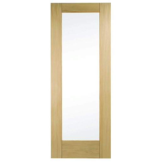 wickes oxford internal oak veneer door glazed 1 panel. Black Bedroom Furniture Sets. Home Design Ideas