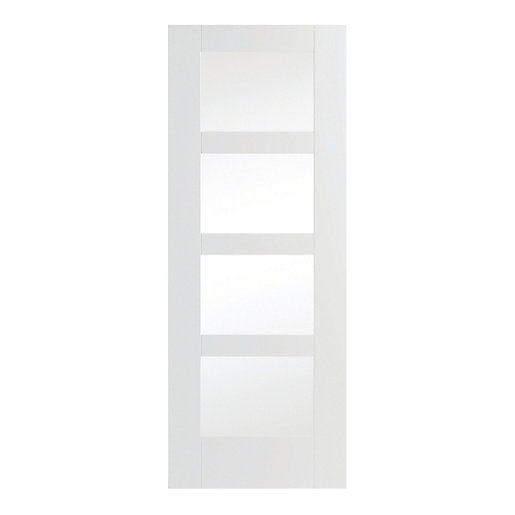 Wickes Barton Internal Softwood Door White Glazed Primed 4 Panel 1981 X 762mm