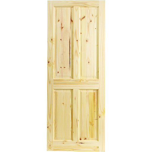 Wickes chester internal softwood door knotty pine 4 panel for Door viewer wickes