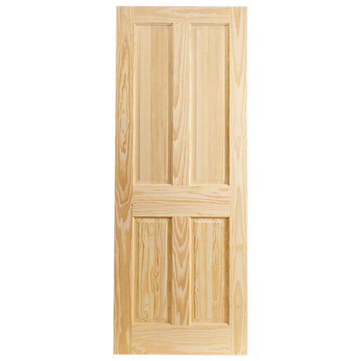 Wickes Skipton Internal Softwood Door Clear Pine 4 Panel 1981x686mm - Internal Softwood Doors - Interior Timber Doors -Doors & Windows