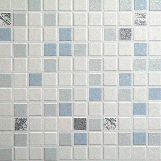 Graham brown contour checker decorative wallpaper blue for Kitchen and bathroom wallpaper