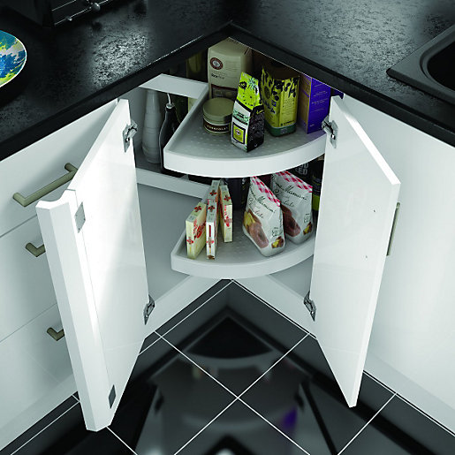 Wickes 2 tier carousel unit white for Carousel for kitchen cabinets