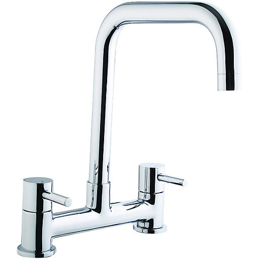 wickes seattle bridge kitchen sink mixer tap chrome - Kitchen Sink Mixer Taps