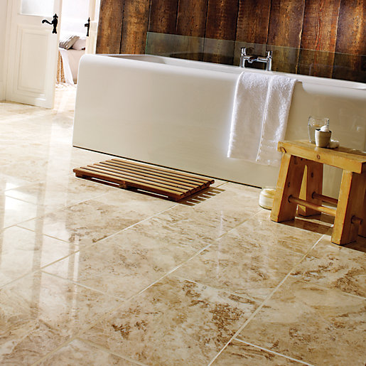 Wickes Beige Polished Marble Floor Tile 457 X 305mm