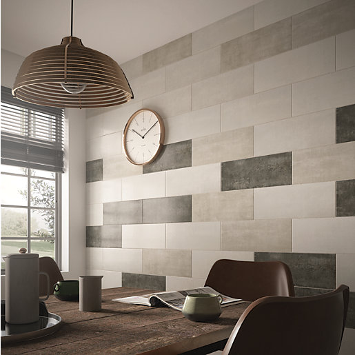 Kitchen Wall Tiles Types: Wickes Brooklyn Cement White Ceramic Tile 500 X 200mm