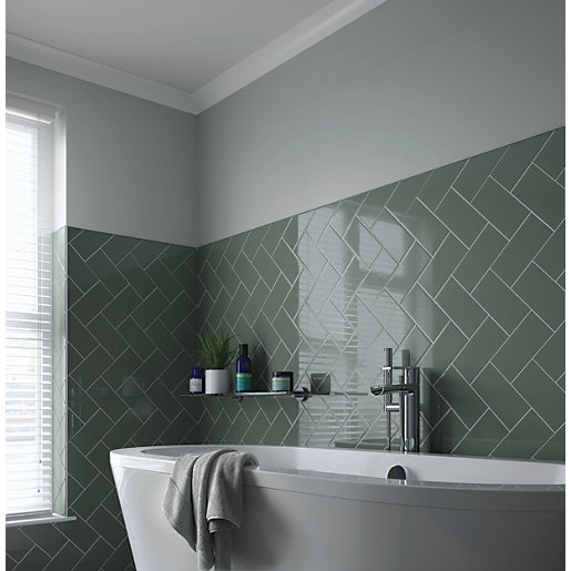 Wickes Cosmopolitan Sage Ceramic Tile 200 X 100mm