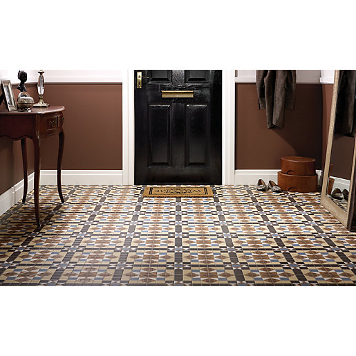 wickes dorset marron patterned ceramic tile 316 x 316mm. Black Bedroom Furniture Sets. Home Design Ideas