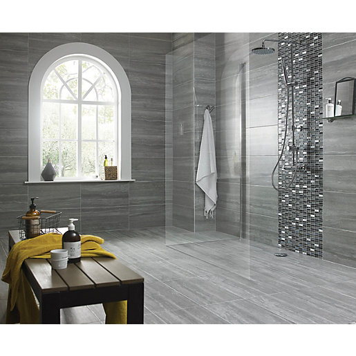Kitchen Tiles Grey wickes everest slate porcelain tile 600 x 300mm | wickes.co.uk