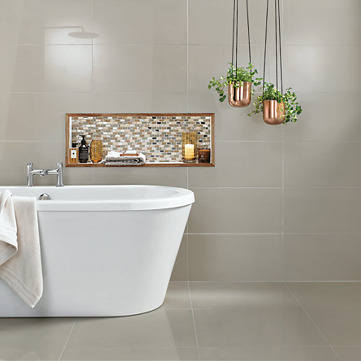 Bathroom Tiles Wickes : Wickes infinity ivory porcelain tile mm