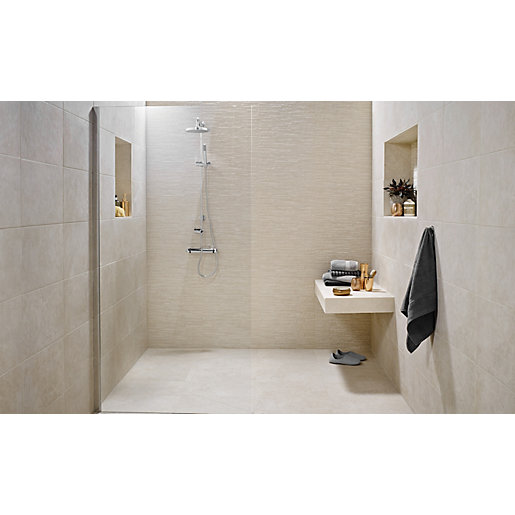 Bathroom Tiles Beige wickes mayfield beige ceramic tile 500 x 300mm | wickes.co.uk