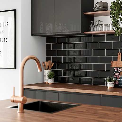 Black Gloss Kitchen Wall Tiles: Wickes Metro Black Ceramic Tile 200 X 100mm