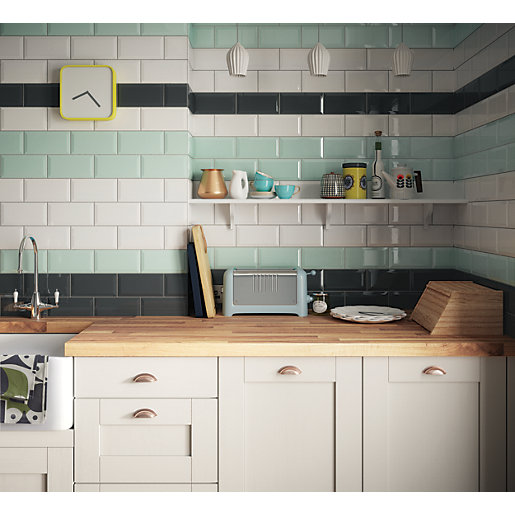 Wickes metro mint green ceramic tile 200 x 100mm wickes How to put tile on wall in the kitchen