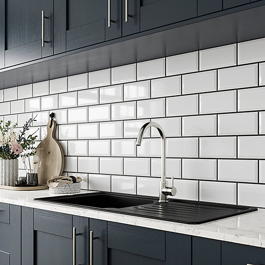 Black Gloss Kitchen Wall Tiles: Wickes Metro White Ceramic Tile 200 X 100mm