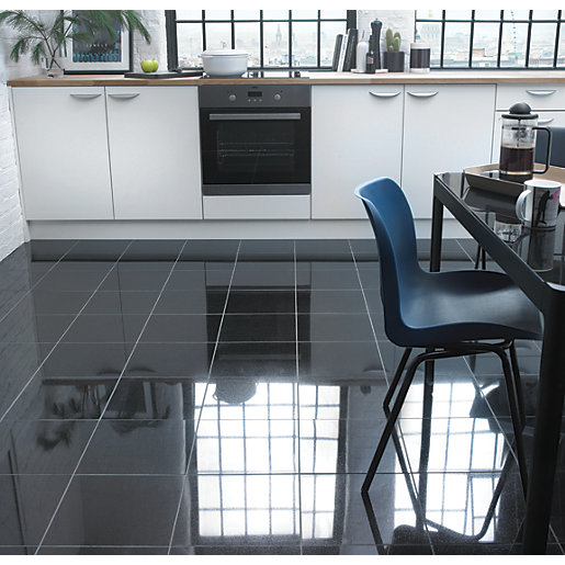 Wickes polished granite black natural stone tile 305 x for Black floor tiles for kitchen