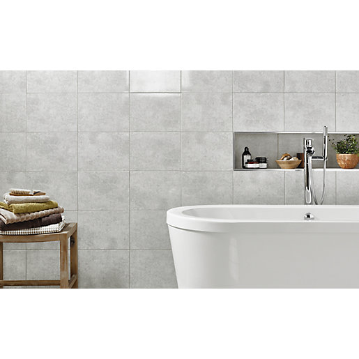 Grey Kitchen Floor Tiles Uk: Wickes Tivoli Grey Ceramic Wall Tile 330 X 250mm