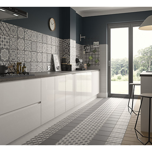 Wickes winchester patchwork grey ceramic tile 200 x 200mm Bathroom design winchester uk