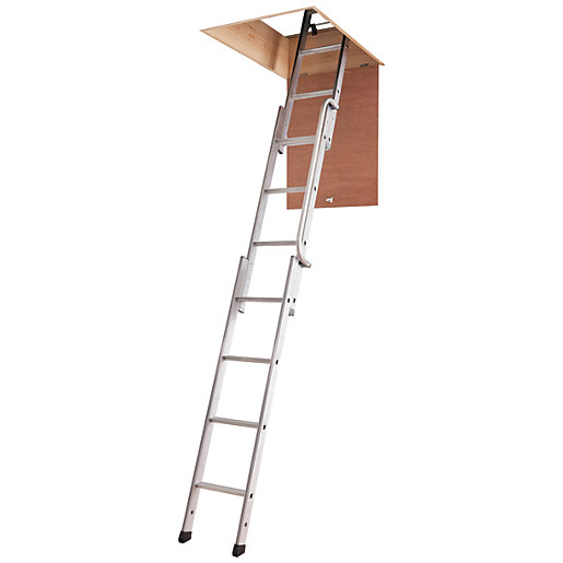 youngman easiway 3 section aluminium loft ladder max height 3m