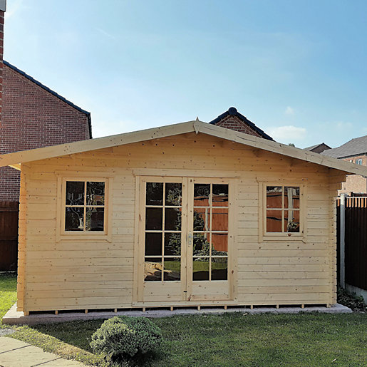 Shire 14 X 14 Ft Large Clipstone Double Door Log Cabin