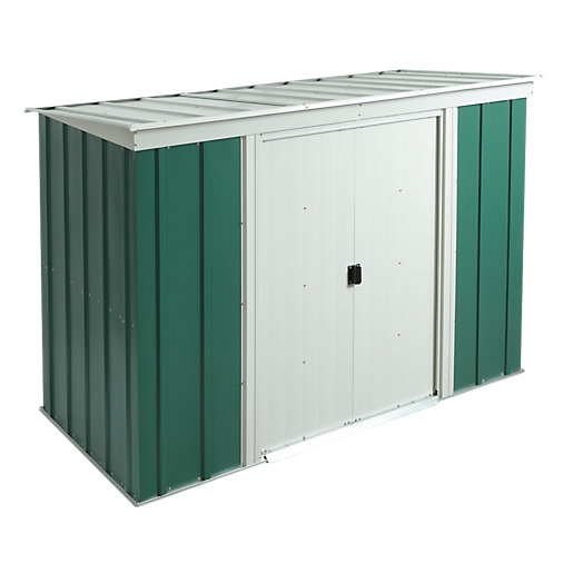 Rowlinson metal pent shed without floor 8 x 4 ft for Garden shed homebase