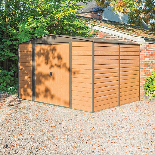 Rowlinson woodvale metal apex shed without floor 10 x 8 for 10 x 8 metal shed with floor
