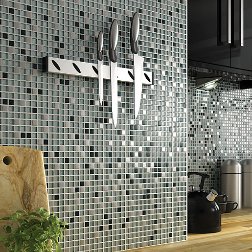 White Sparkle Kitchen Floor Tiles: Wickes Glitter Black & White Glass Mix Mosaic Tile 308 X
