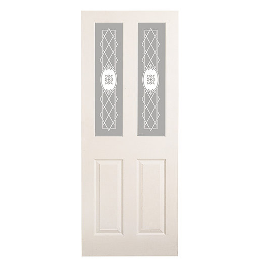 Wickes stirling internal moulded door white glazed primed 4 panel 1981 x 762mm - White glass panel internal doors ...