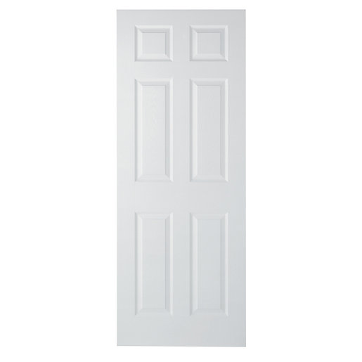 wickes woburn internal moulded door white finished 6 panel. Black Bedroom Furniture Sets. Home Design Ideas