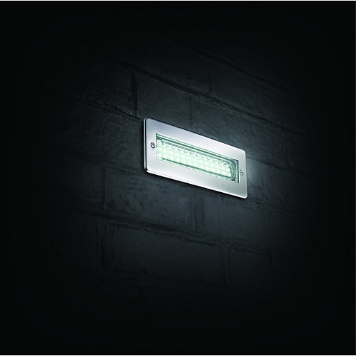 Flush Solar Wall Lights : Wickes Riko LED Brick Light Wickes.co.uk