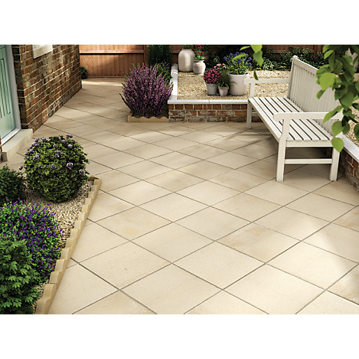 Marshalls Saxon Textured Buff 450 X 450 X 35mm Paving Slab