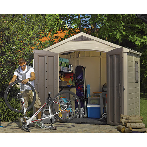 keter double door plastic apex shed 8 x 6 ft - Garden Sheds 7x6