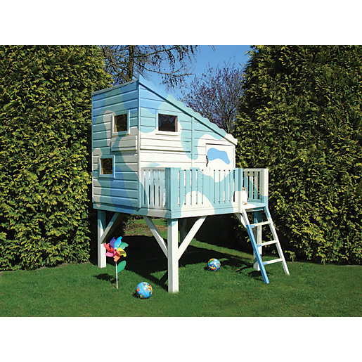 wickes command post platform elevated timber playhouse with balcony 6 x