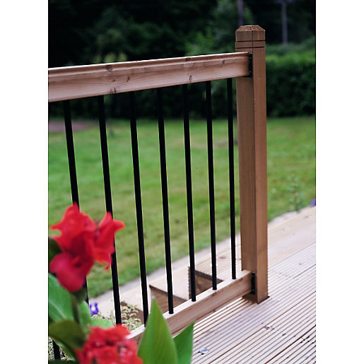 Wickes traditional deck railing kit 952 x 1816mm black for Garden decking kits uk