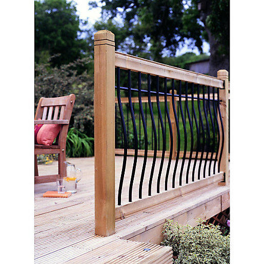 Wickes tuscany deck railing kit 952 x 1816mm black for Flat pack garden decking