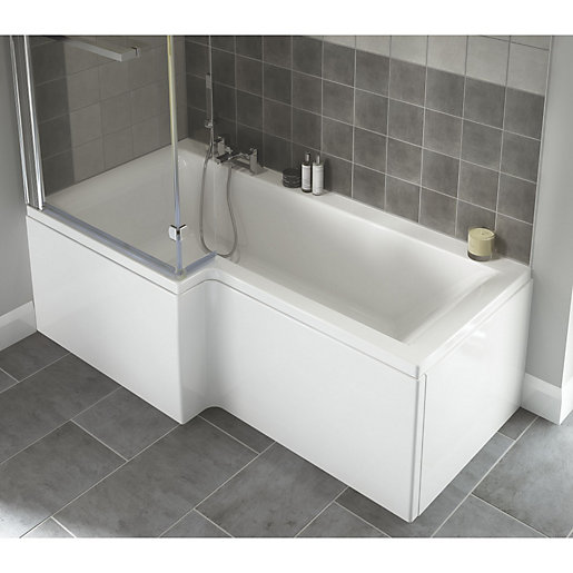 wickes asuni shower bath left hand white 1700mm wickes co uk energise shower bath left hand 1675x800x700 with panels