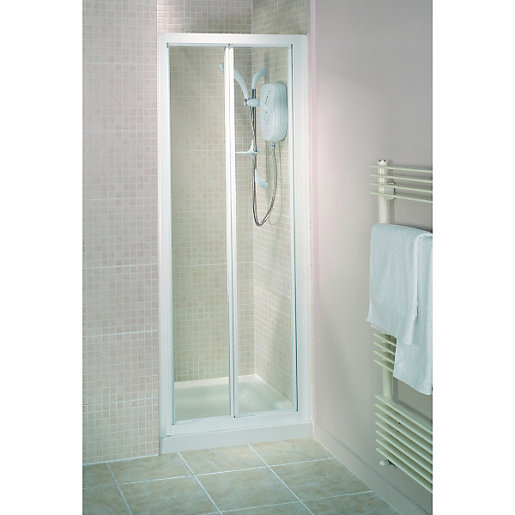 Foldable Shower wickes bi-fold shower enclosure door white frame 760mm | wickes.co.uk