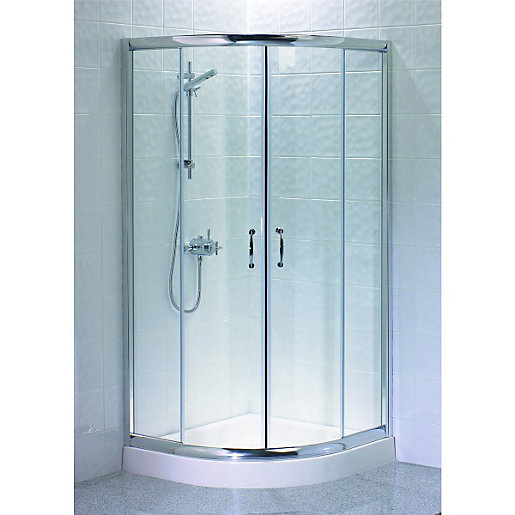 Wickes Quadrant Shower Enclosure Silver Effect Frame Box 2 of 2 900mm