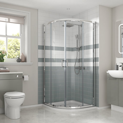 Wickes Semi Frameless Quadrant Shower Enclosure with Tray 900mm. Showers Enclosures   Shower Cubicles  Quadrant Enclosure   Wickes