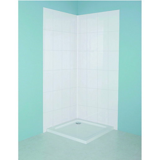 Bathroom Tiles Wickes : Wickes tile panel kit white mm