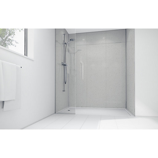 Laminate Shower Panels : Wickes white sparkle laminate panel mm t g