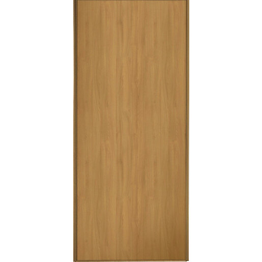 Wickes sliding wardrobe door oak frame panel 2220 x for Door viewer wickes