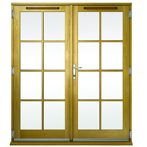 Wickes albery georgian bar solid oak laminate french doors for Small double french doors