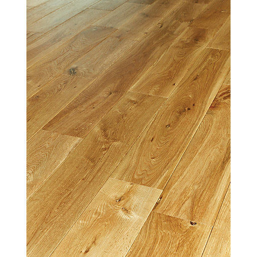 Wickes milanas oak solid wood flooring for Real solid wood flooring