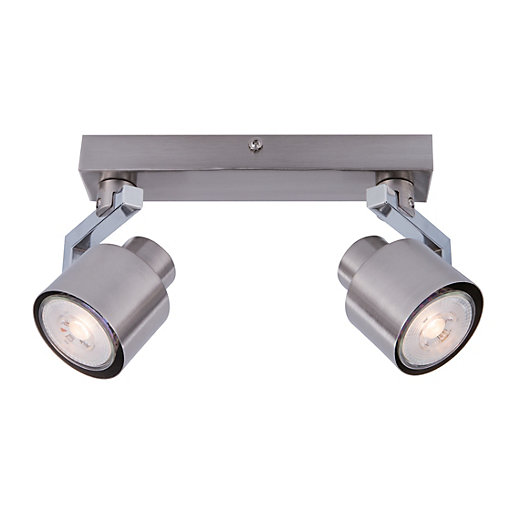 Wickes Kitchen Pendant Lights: Wickes Boulevard LED Brushed Chrome 2 Bar Spotlight