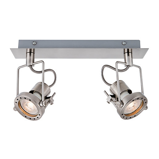 Wickes Kitchen Pendant Lights: Wickes Studio LED Brushed Chrome 2 Bar Spotlight