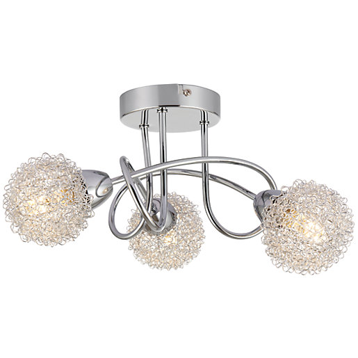 Wickes Kitchen Pendant Lights: Wickes Totas LED Brushed & Polished Chrome 3 Bar Spotlight