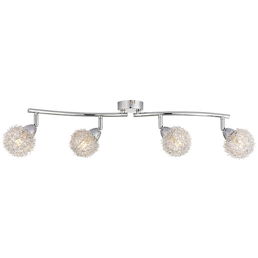 Wickes Kitchen Pendant Lights: Wickes Totas LED Brushed & Polished Chrome 4 Bar Spotlight