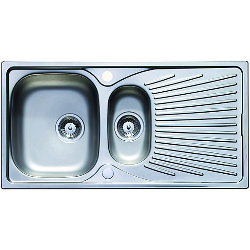 Wickes Luxe 1.5 Bowl Kitchen Stainless Steel Sink & Drainer