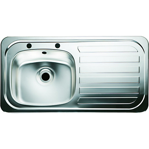 wickes single bowl kitchen sink stainless steel rh drainer - Kitchen Sinks Photos