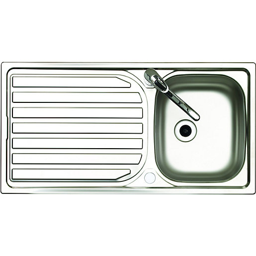 Wickes Single Bowl Reversible Kitchen Stainless Steel Sink U0026 Drainer With  Tap