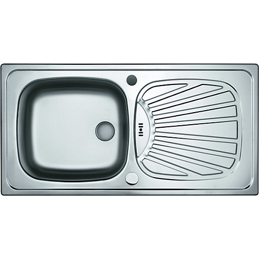 Wickes E Saving Single Bowl Kitchen Stainless Steel Sink Drainer